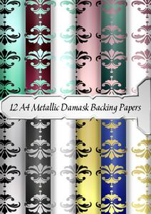 12 A4 Metallic Damask Backing Papers