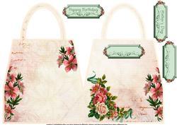 Vintage Lilies and Roses (multi Uses) Handbag Shaped Card
