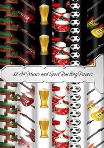 12 A4 Music and Sports Backing Papers