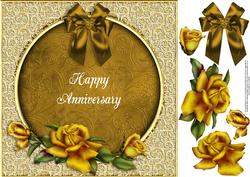 Golden Anniversary 8x8 Card Topper with Decoupage