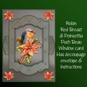 Robin Red Breast & Poinsettia Push to Beau Window Card Kit