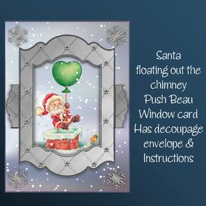 Santa Floating Out the Chimney Push to Beau Card Kit