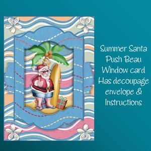 Summer Santa Push to Beau Christmas Card Kit