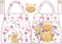 Brown Cat Handbag Shaped Card