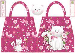 White Cat Handbag Shaped Card