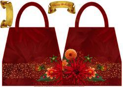 Dahlias Handbag Shaped Card