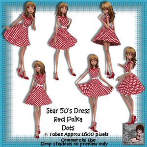 6 50's Star Dress Red Polka Dots Poser Tubes
