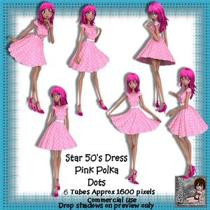 6 50's Star Dress Pink Polka Dots Poser Tubes