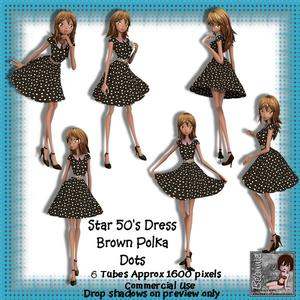 6 50's Star Dress Brown Polka Dots Poser Tubes