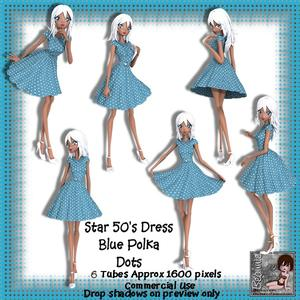 6 50's Star Dress Blue Polka Dots Poser Tubes