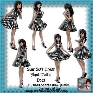 6 50's Star Dress Black Polka Dots Poser Tubes