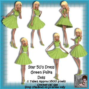 6 50's Star Dress Green Polka Dots Poser Tubes