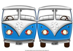 Blue Vw Beetle Van Shaped Quick Card