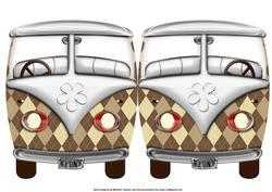 Tartan Vw Beetle Van Shaped Quick Card