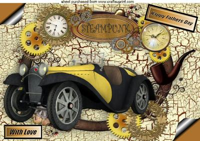 Fathers Day Vintage Car and Steampunk Memories A4
