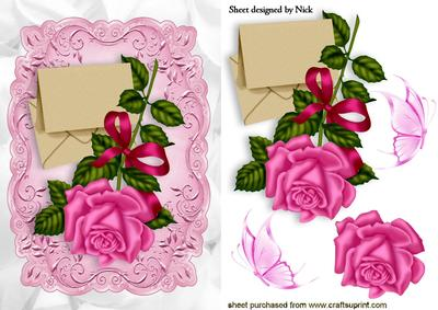 Pink Rose with Letter