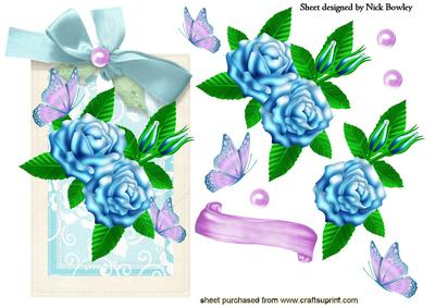 Blue Roses and Lilac Butterflies on a Floral Tag
