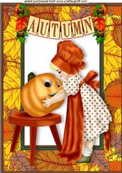 Little Lady with Pumpkin in Autumn Frame A4