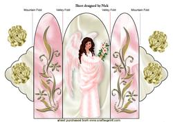 Sweet Angel in Pink with Gold Roses Tri Fold