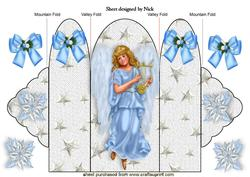 Sweet Angel in Blue with Bows Tri Fold
