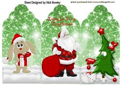 Lovely Santa with Funny Christmas Tree Tri Fold