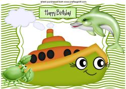 Dolphin with Toony Green Boat and Little Crab A4