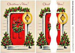 Lovely Red Front Door with Christmas Holly Side Stacker
