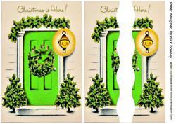 Lovely Green Front Door with Holly Side Stacker