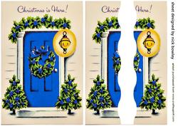 Lovely Blue Front Door with Christmas Holly Side Stacker