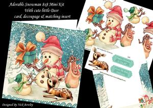 Adorable Little Snowman with Cute Little Deer 8x8 Mini Kit