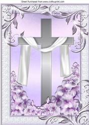 Pretty Lilac Butterflies, Flowers and Cross with Shawl A4