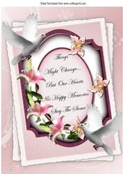A Pretty Lily Sympathy Plaque with Doves A4