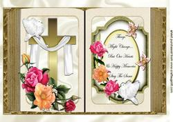 Gold Cross with Shawl and Spring Roses, Sentiments Open Book