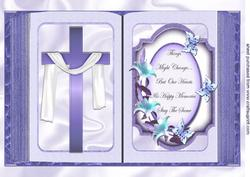 Lilac Cross with Shawl and Sentiment Open A4 Book