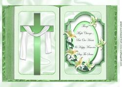 Green Cross with Shawl and Sentiment Open A4 Book