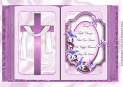 Pink Cross with Shawl and Sentiment Open A4 Book