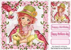 Little Girl with Birds in Flower Frame 8x8