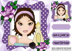 Pretty Girl with Makeup and Purple Roses 8x8