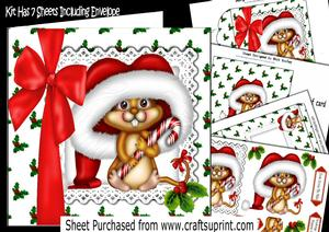Cute Mouse in Santa Hat with Big Red Bow 7x7 Kit