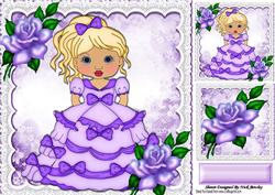 As Pretty as a Picture All Dressed in Purple with Roses 8x8