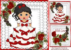 Pretty Red Cascading Roses,with Lady in Red on Lace 8x8
