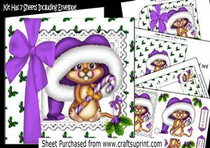 Cute Mouse in Purple Santa Hat with Purple Bow 7x7 Kit