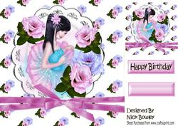 Pretty Oriental Girl on a Plate with Flowers & Bow 8x8