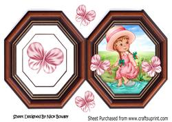 Little Girl in the Water with Butterflies in Vintage Frame