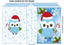 Lovely Festive Owl with Candy Cane and Santa Hat Folded Book
