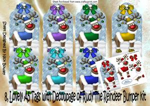 8, Lovely A5 Tags of Rudey the Reindeer Bumper Kit