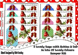 8, Lovely Christmas Tags with Robins, Bumper Kit