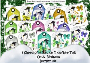 8 Sheets of Birds on Bird Table on Snowflake Tags Kit