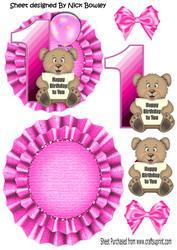 Happy 1st Birthday! Cute Little Bear, Pink Balloon Rocker