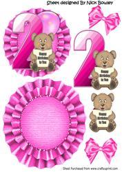 Happy 2nd Birthday Cute Little Bear, Pink Balloon Rocker